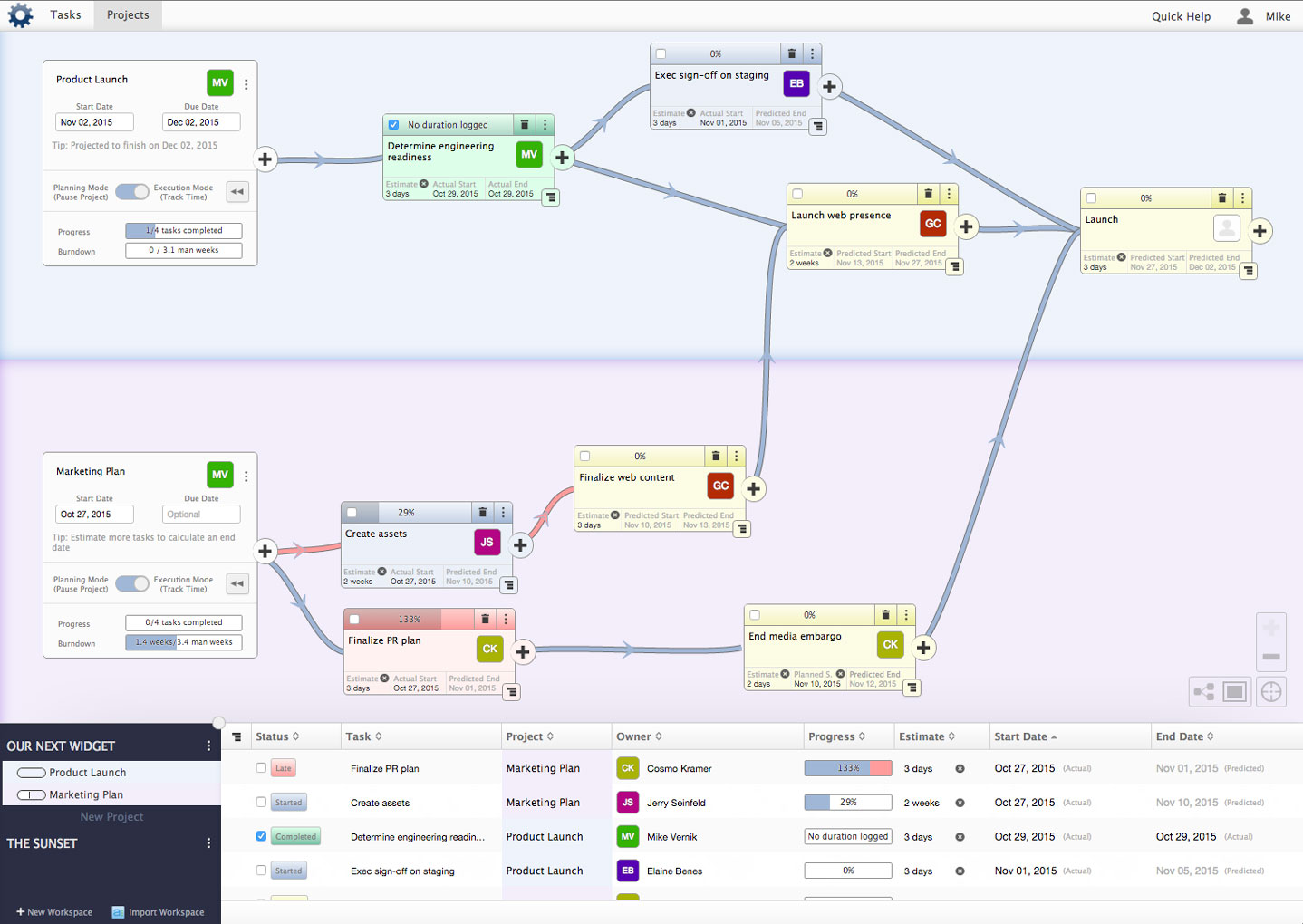 Visual workflow and project management screenshot